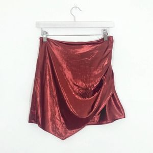 H:ours Revolve Red Metallic Lurex Mini Skirt